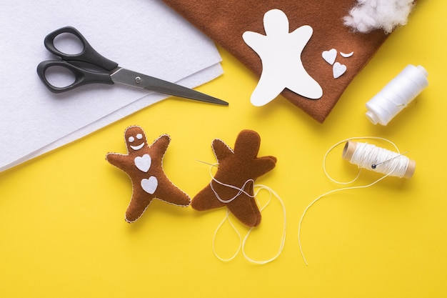 Have fun with kids by sewing a gingerbread man.