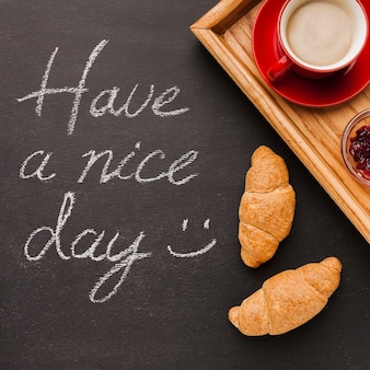 Have a nice day message with breakfast