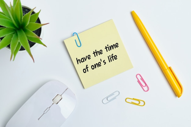 Have the time of one life - english idiom hand lettering on wooden blocks