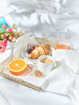 Having breakfast on bed