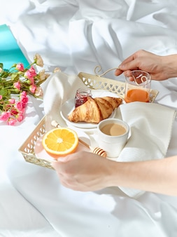 Having breakfast on bed