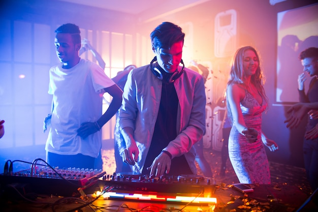 Having party at night club