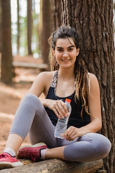 Having some water after exercising