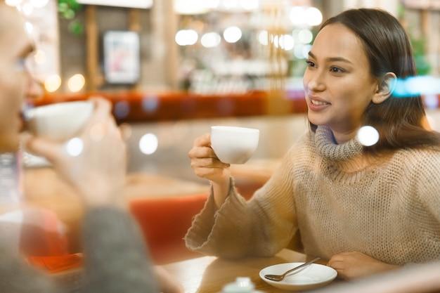 Having tea in cafe