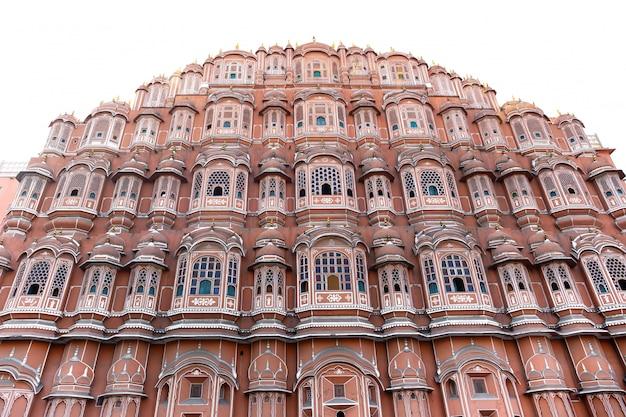 Hawa mahal palace in jaipur rajasthan india isolated.