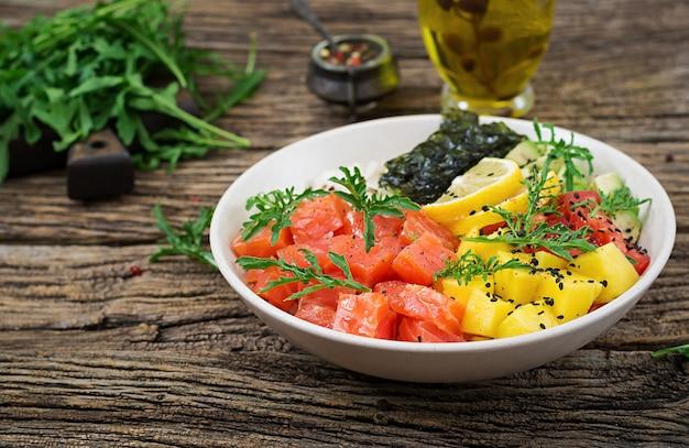 Hawaiian salmon fish poke bowl with rice, avocado, mango, tomato, sesame seeds and seaweeds.