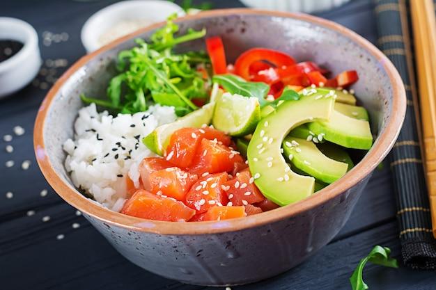 Hawaiian salmon fish poke bowl with rice, avocado, paprika, sesame seeds and lime.