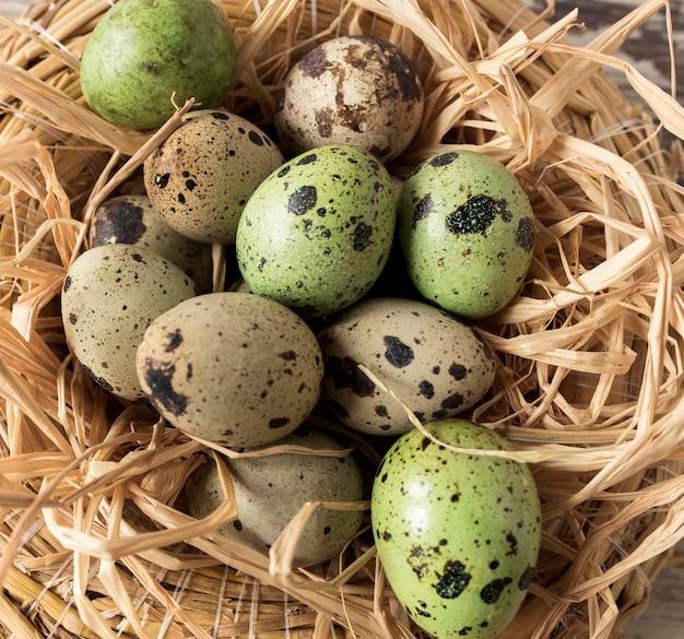 干し草とイースターのウズラの卵