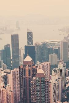 Haze hong kong downtown view from victoria peak. filtered shot