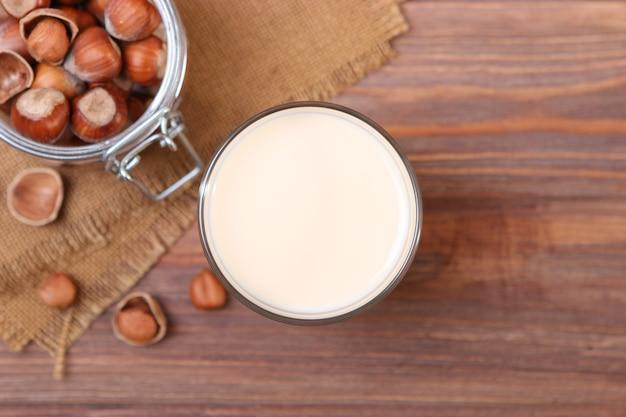 Hazelnut milk on the table vegetable milk vegetarian milk