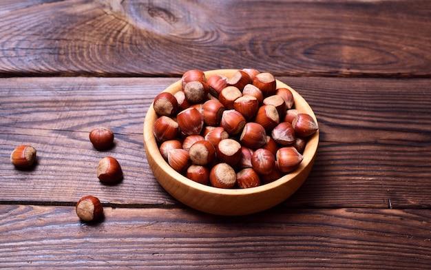 Hazelnut in a wooden plate
