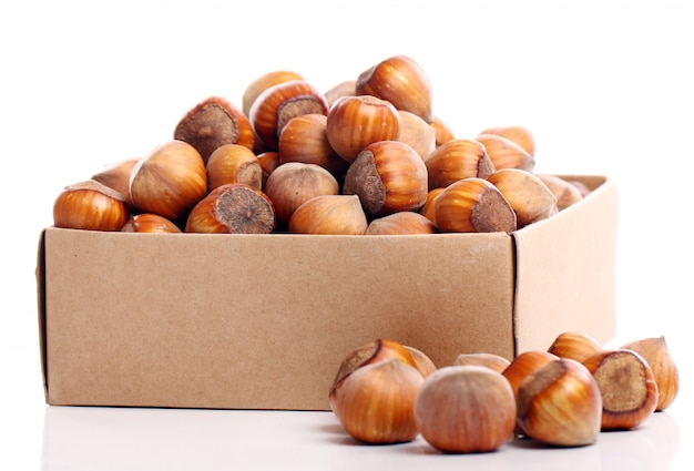 Hazelnuts in box