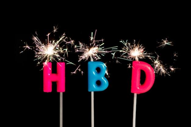 Hbd, happy birthday text witch fireworks