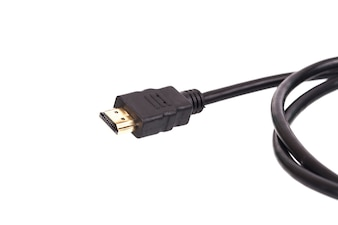 HDMI connector cable on white background.