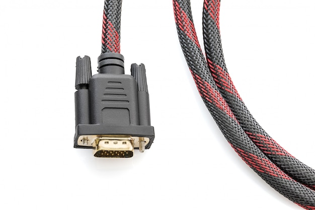 Hdmi and vga cable connector on white