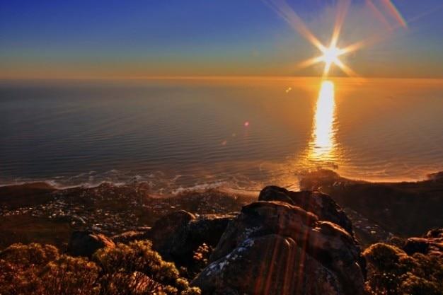 テーブル山の夕日hdr