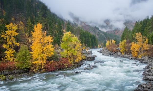 レブンワースの山の上の霧と秋のhdr