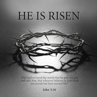 그는 부활했습니다. 부활절 포스터 디자인 가시 왕관 십자가의 상징 어두운 백라이트 3d 렌더링