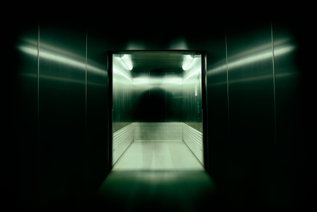 He was the soul or possess immortal souls in office building elevator doors., used long speed shutter blur and zoom effects.