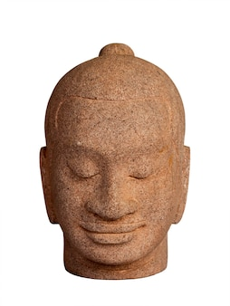 Head of buddha carved from stone isolated on white surface, vertical style. face of antique stone buddha, front view.