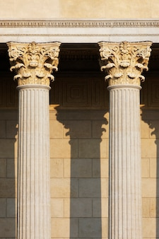 Head of columns on antique building