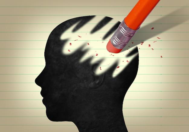 연필 지우개로 지워진 머리