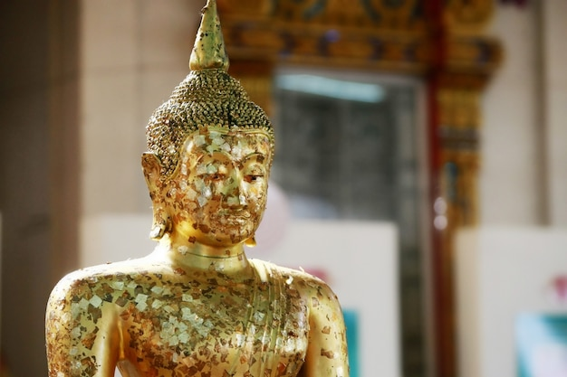 Head of golden buddha at the temple