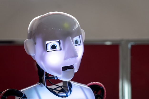Head and lightning eyes of humanoid robot