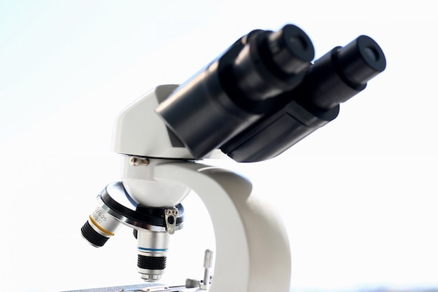 The head microscope on the background of