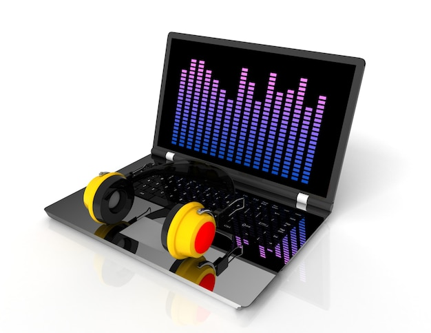 노트북과 머리 전화입니다. 3차원, reenered, 삽화