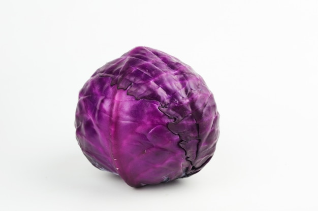 Head red cabbage isolated on white background