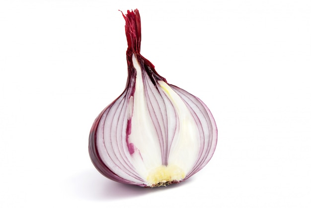 Head of a red sliced onion on white