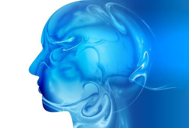 抽象的なデザインの抽象的な医学的背景を持つ頭のシルエット