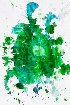 Over head view of a green water color stain