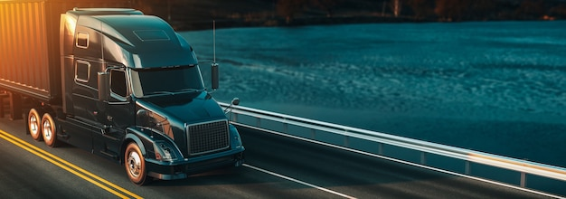 Headers truck running. 3d rendering and illustration.