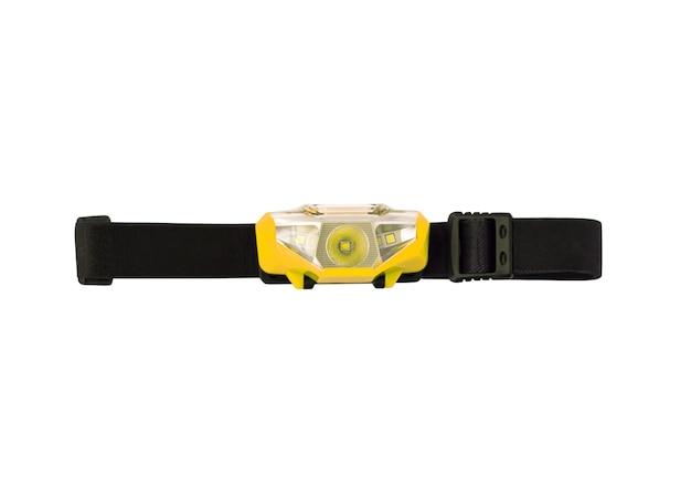흰색 배경에 격리된 탄성 스트랩이 있는 헤드램프 또는 헤드라이트
