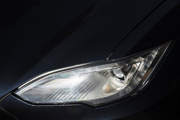 Headlight of new matte black auto