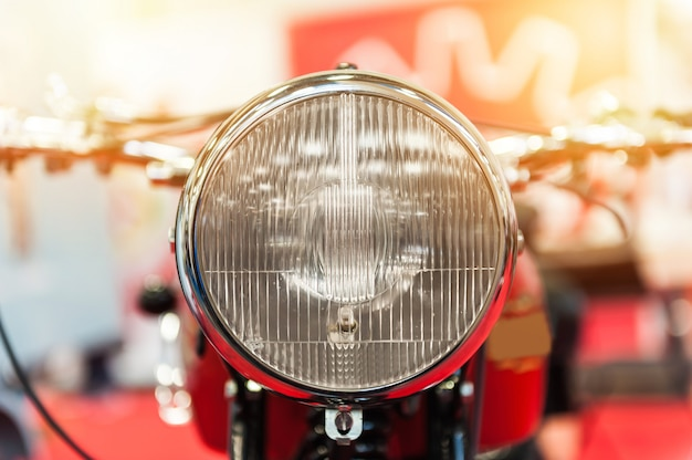 Headlight of a powerful motorbike