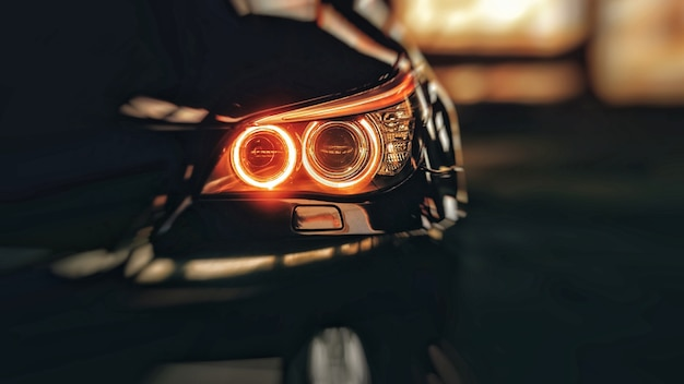Headlights of black modern car close up modern luxury car closeup banner background concept of expensive sports auto