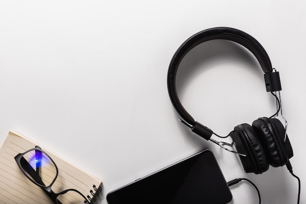 Headphone and mobile phone, music concept