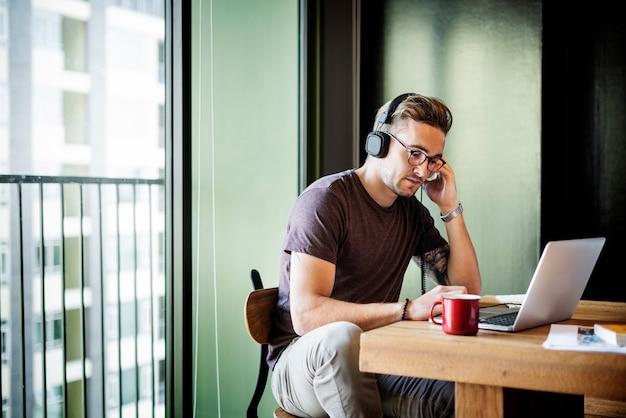 Headphone song music playlist enterprise connect concept