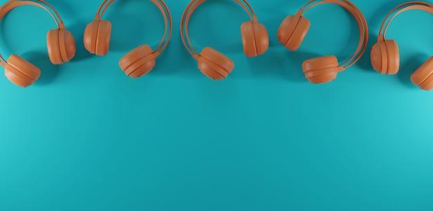 Наушники с пастельно-синим фоном. 3d рендеринг.