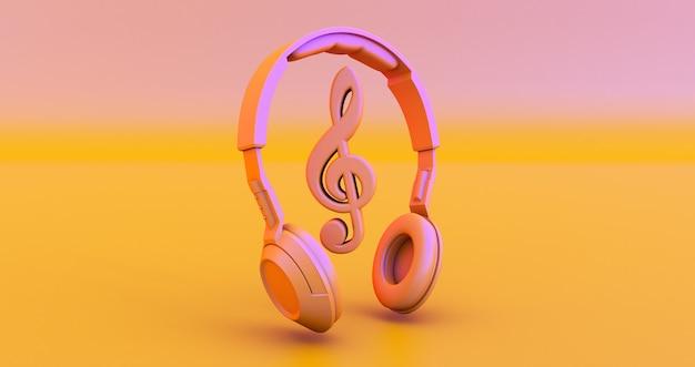 ヘッドフォンと音符-音楽の概念。 3dレンダリング