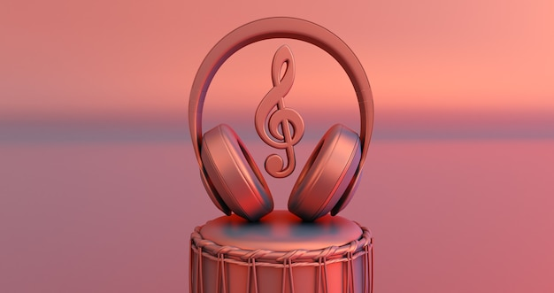 Наушники и ноты - понятие музыки. 3d визуализация