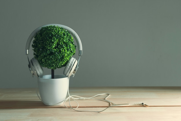 Headphones and artificial tree