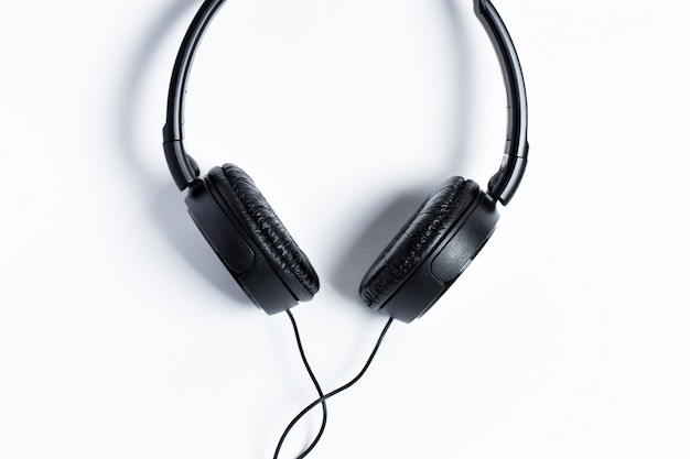 Headphones black on a white background