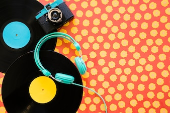 Headphones, camera and vinyls