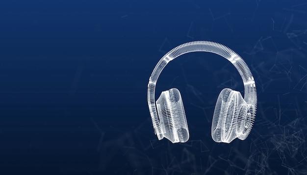 배경, 3d 일러스트로 헤드폰 창조적 인 디자인 삼각형