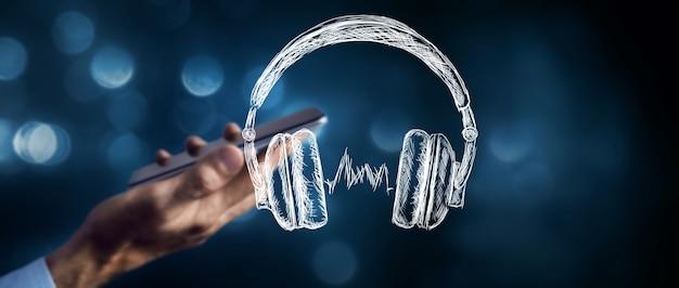 헤드폰은 음악 또는 오디오 북을 듣습니다.