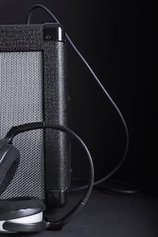Headphones near amplifier